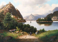 Oil Arnold Forstmann Nonnenwerth Rolandseck & Drachenfels on the Rhine landscape