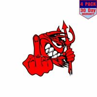 Little Red Devil F U Devil With Middle Finger 4 pack 4x4 Inch Sticker Decal