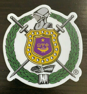 Omega Psi Phi Vinyl Die Cut Stickers: Car/Truck/Office Escutcheon/Shield: 5-Pack