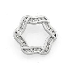 9ct White Gold  Diamond Hexagonal Pendant.