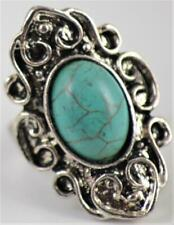 BNWOT Costume jewellery ring with oval turquoise stone - U.K. Size P