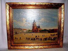 Jugendstil Ölgemälde Städische Scene  Personen mit Pferdewagen Sign.Peterson