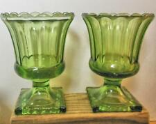 "Vintage 6"" Pressed Green Glass Footed Vases Set of 2"