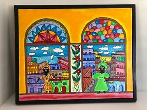 Original Cuban Primitive Painting of Havana Vieja (Old Havana) by Rene Avello
