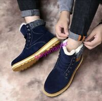 Mens Fur Lining Winter Warm Ankle short Boots Lace Up Casual Thicken  Shoes  Hot