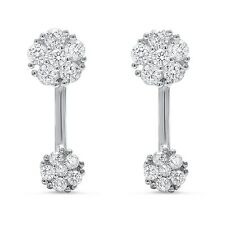 Cubic Zirconia Flower Earring .925 Sterling Silver Earring