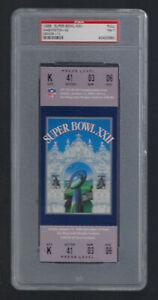 VINTAGE 1987-88 SUPER BOWL XXII FULL FOOTBALL TICKET - BRONCOS v REDSKINS PSA 7