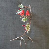 Cardinals on Snowy Branch Metal Ceramic Figurine w Holly Winter Holiday Decor