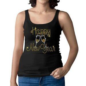 Rhinestone & Stud HAPPY NEW YEAR - Women Ladies Vest - Crystal Diamante Tank Top