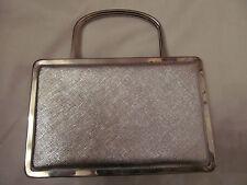 50's ARNOLD SCAASI for MEYERS silver metallic metal frame evening handbag purse