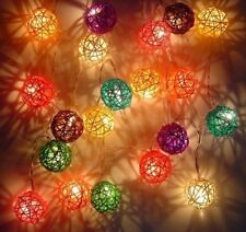 Rattan Ball Light String x 20, Handmade UK SAFETY Rainbow Mixed LED 14 foot