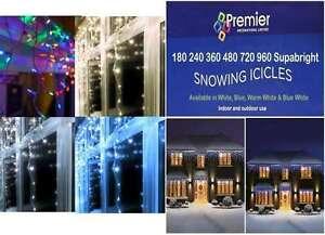 PREMIER LED Christmas Xmas Tree Lights Snowing Icicles WARM WHITE 720