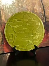 Vintage French Map France Cheese Plate Modele Depose Proceram Green Majolica 12""