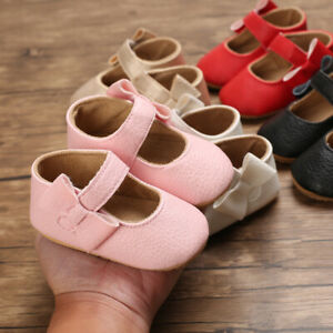 Infant Toddler Baby Girl Mary Jane Dress Flats Anti-Slip Sole First Walker Shoes