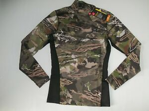 UNDER ARMOUR ColdGear HUNTING Forest CAMOUFLAGE Mock Neck SHIRT Mens MEDIUM NEW