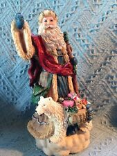 VINTAGE HAND PAINTED PLASTER OLD WORLD SANTA WITH BEAR STATUE