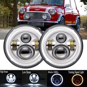 "7"" LED Headlights Chrome For Mini Cooper S Clubman Moke Morris Minor"