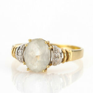 Vintage ladies´ ring (14k gold) with an aquamarine and diamonds