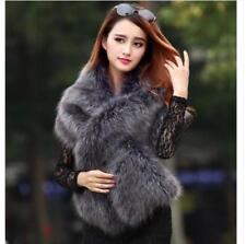 Womens Faux Fur Furry Long Cape Sleeveless Coat Jacket Winter Warm Shawl Luxury