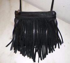 WOMEN'S GG BOSS BLACK LEATHER CROSS BODY ZIP TOP BAG PURSE SMALL WITH FRINGE UNU