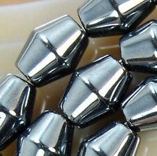 """6x8mm Natural Hematite Bicone Beads 15.5"""""""