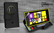 Black Side ID Wallet Leather Case Cover for Nokia Lumia 1020 + Screen Guard