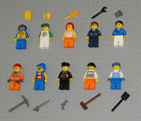 Lego MINIFIGURES Lot 10 People Police Fireman Girl Pirate Toys Guys City Minifig