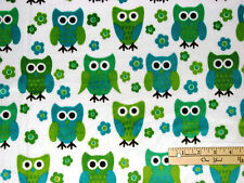 Hoot Owl Minky Minkee Softie Blue & Green Benartex Fabric  by the FAT 1/2 Yard