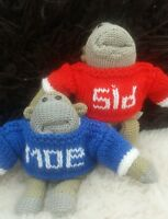 Hand knitted for pg tips monkey. jumper with any name (Jumper any colour)