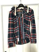 Superdry Navy Shirt Size Medium M Mens Check Long Sleeve Great Condition (D376)