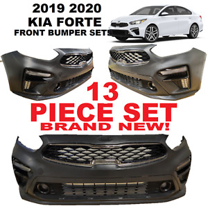 2019 2020 KIA FORTE FRONT BUMPER SET COMPLETE WITH GRILLS AND FOGS UPPER LOWER