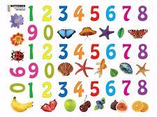 Aufkleber Sticker Fenster Wandsticker Wandaufkleber Zahlen Kinder Obst Muscheln