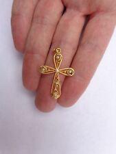 Fabulous Art Nouveau 18K French Gold Pearls Christmas Mistletoe Cross Pendant !