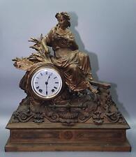 Antique Large Mitchell Vance Gold Gilt Lady Figure Mantel Clock