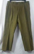 Barbour Men's Olive Green Moleskin Trousers Pants Pleated Slacks Size 38