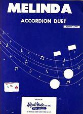 Melinda Accordion Duet Mervin Conn 1960 Accordion Sheet Music