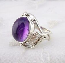 925 Sterling Silver With Amethyst Ring size 6 Leaf Fashion Jewelry NEW