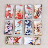 10pcs Peacock Flower Photo Rectangle Glass Cabochon DIY Jewelry Making Findings