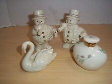 Lot Lenox Porcelain Pair of Snowmen, Swan Figurine, & Rose Manor Perfume Bottle