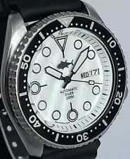 Vintage mens SEIKO diver SKX 7S26 movement w/Ltd WHITE Mother Of Pearl TUNA dial