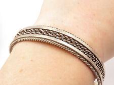 TAHE NAVAJO 925 Silver - Vintage Rope Twist Designed Oval Cuff Bracelet - B7208