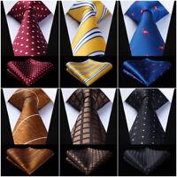 "Men Woven Tie 3.4""Silk Check Polk Dot Animal Geometry Necktie Handkerchief Set"