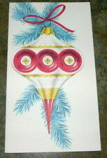 Vintage UNUSED Christmas Card Mid Century MCM Glass Tree Ornament Red Gold Blue