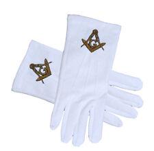 Masonic Regalia - Standard Gold Style Compass Face Cotton White Gloves