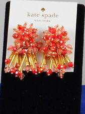 Kate Spade Gold Plated WRAP IT UP Coral Bead Cluster Stud Earrings WBRUF713 $68