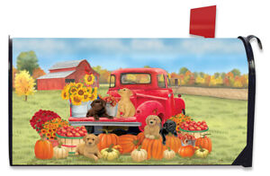 Fall Puppies Magnetic Mailbox Cover Red Pickup Dogs Labs Standard Briarwood Lane