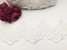 Ivory Colour  Bridal Lace  Embroidered Trim Ribbon Wedding dresses Edging 4''