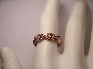 Gorgeous Estate 14K Pink Rose Gold Diamond Eternity Wedding Band Ring