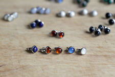 Surgical steel stud earrings with various natural gemstones and shells