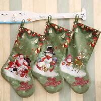 Christmas Socks Santa Claus Candy Green Stockings Xmas Large New Gift Decor W5K9